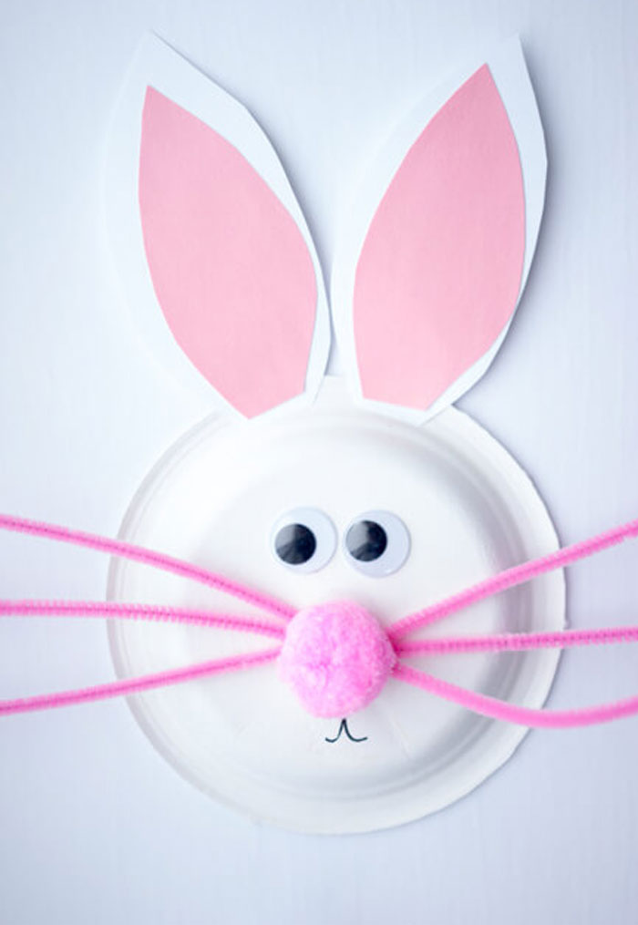 paper plate bunny diy easter