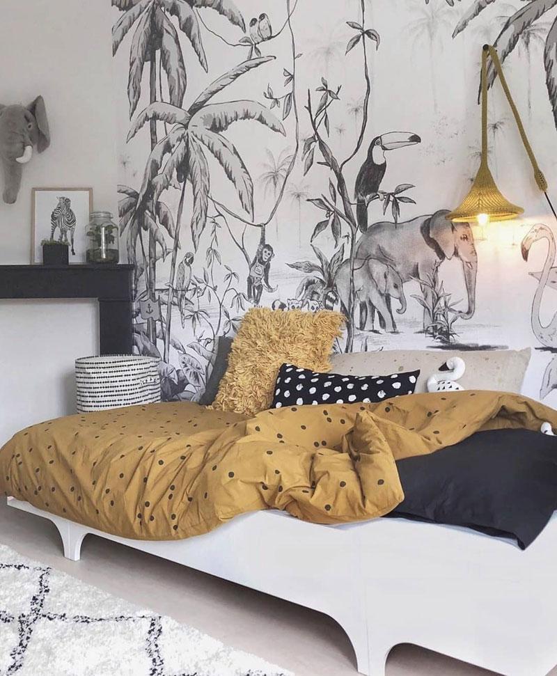 black white tropical wallpaper