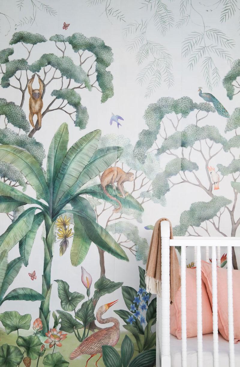 palm trees and monkeys wall decor