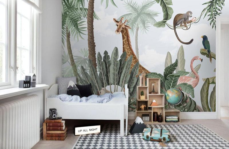 giraffe wallpaper kid's room