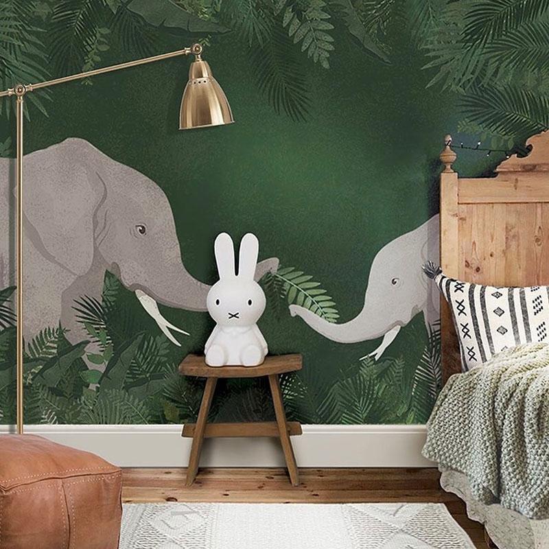 elephant wallpaper nursery kid's room