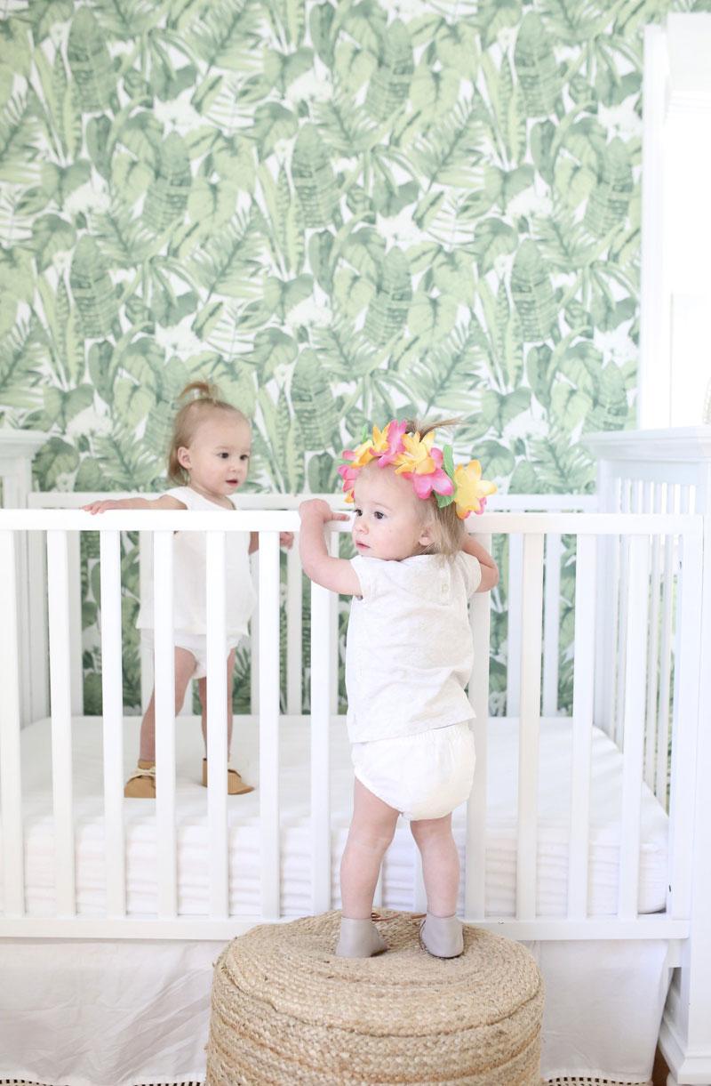 green leaves wallpaper nursery