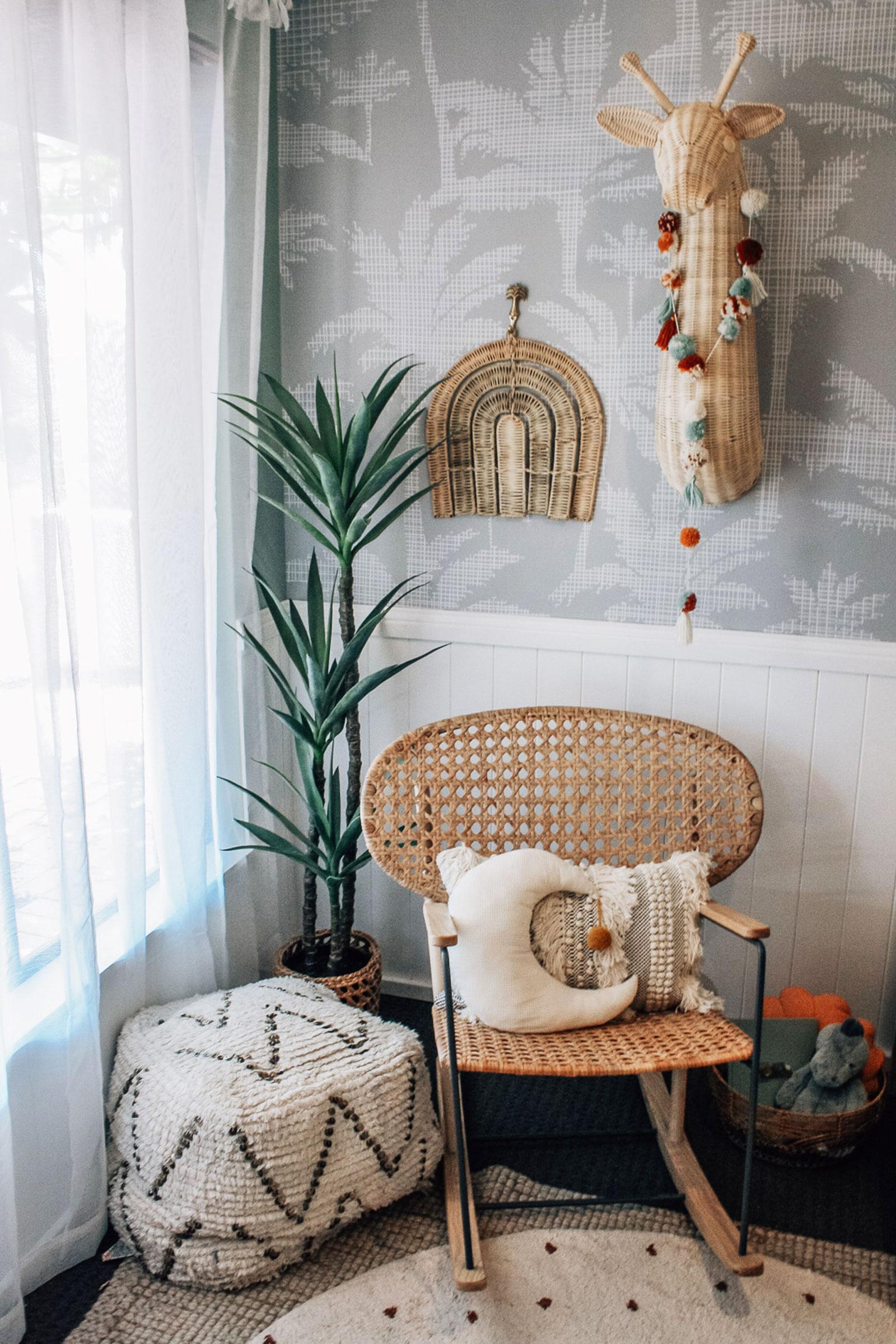 rattan armchair nursery room