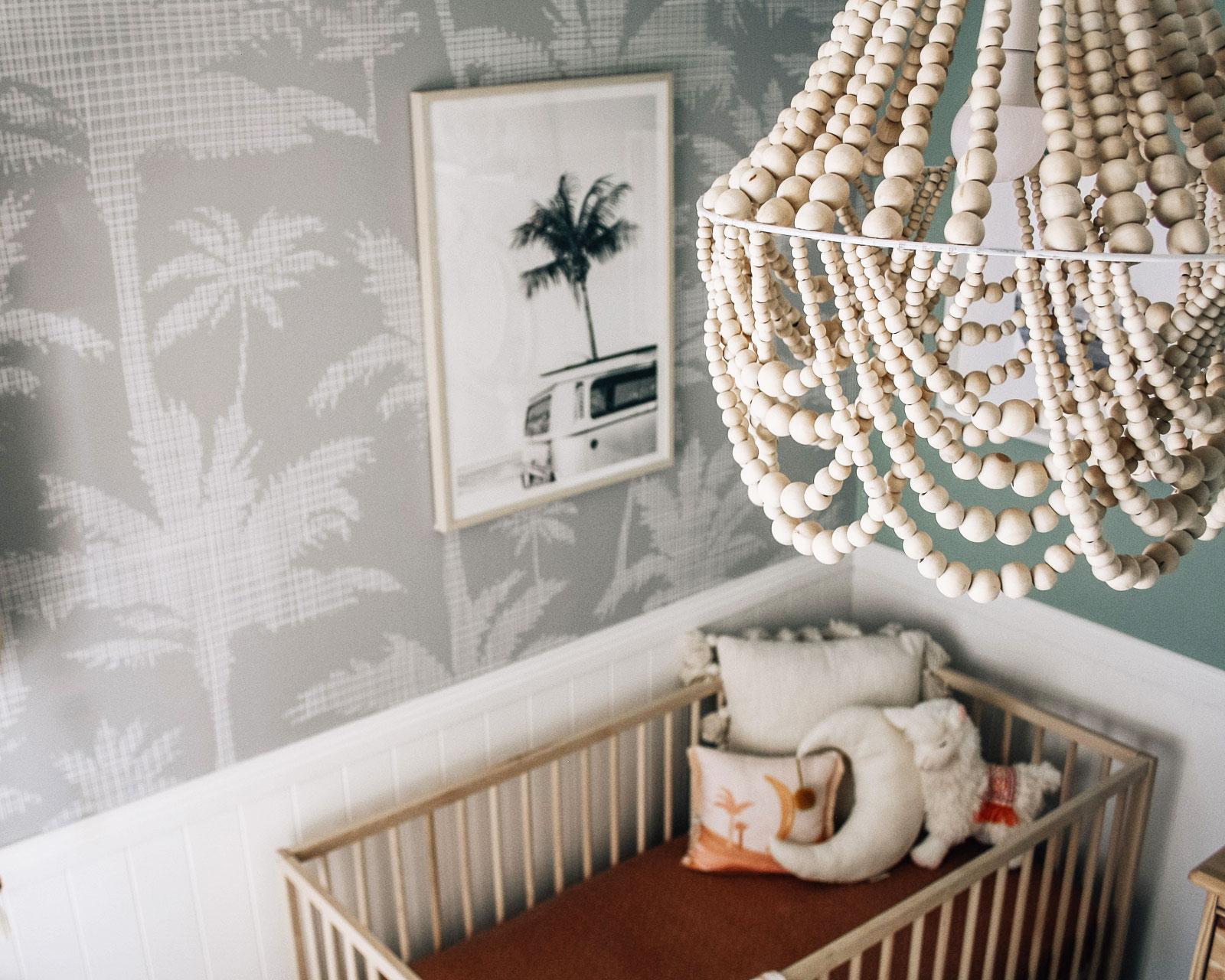 white beaded chandelier