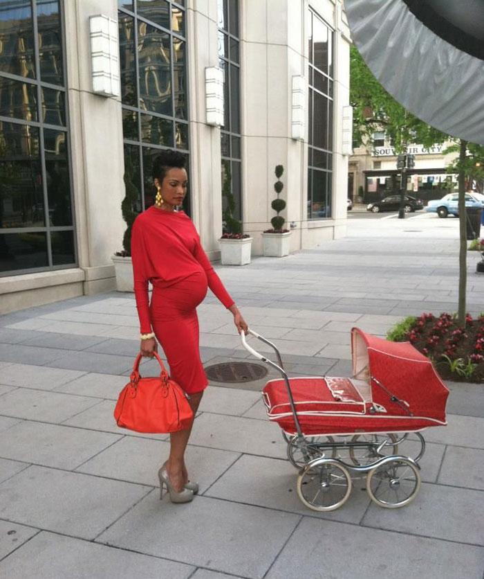 red baby pram