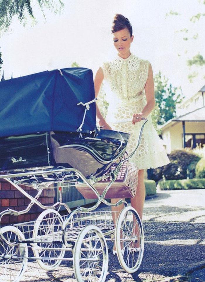 blue traditional baby pram