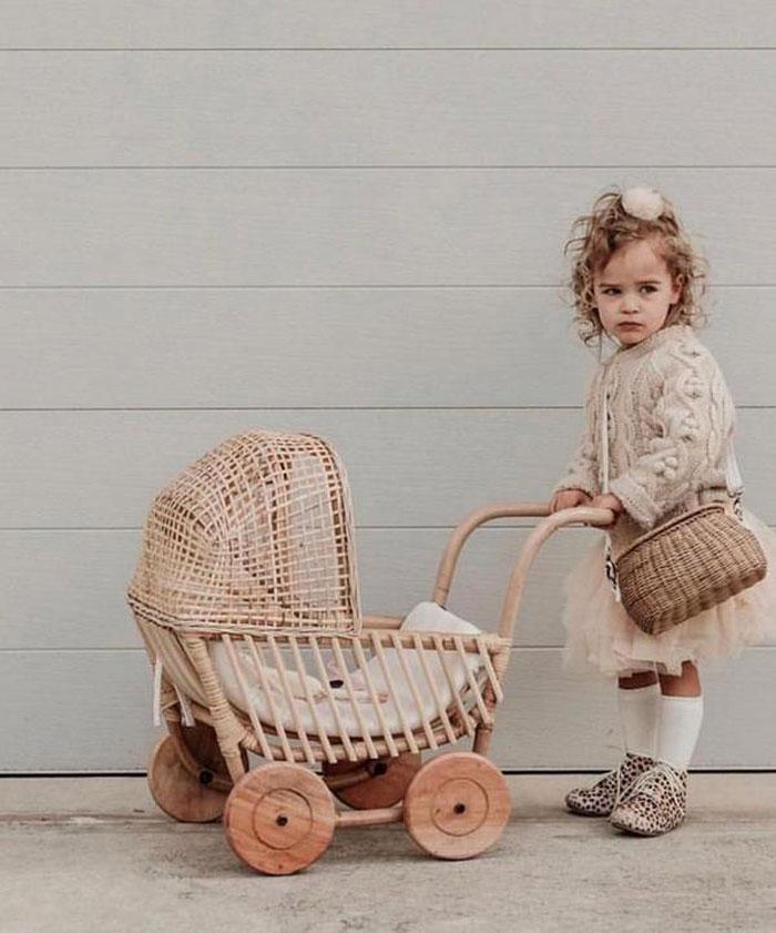 rattan doll pram