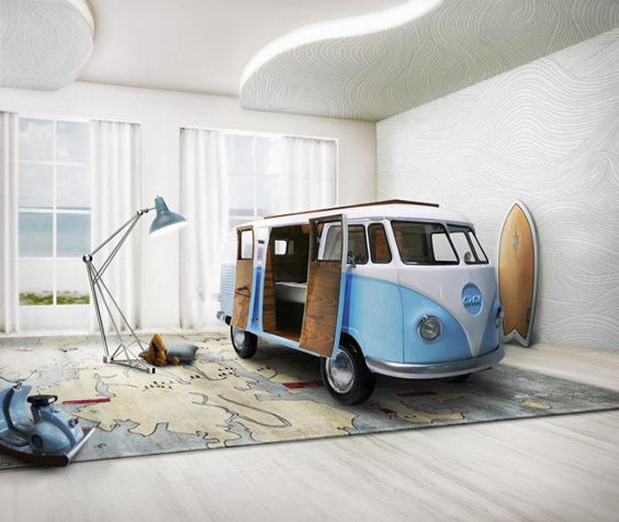 volkswagen bus shaped kid's bed