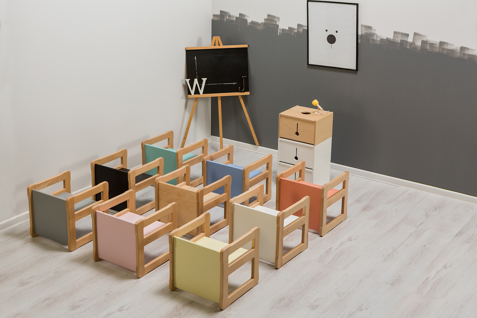 colourful Montessori multifunctional kids chair