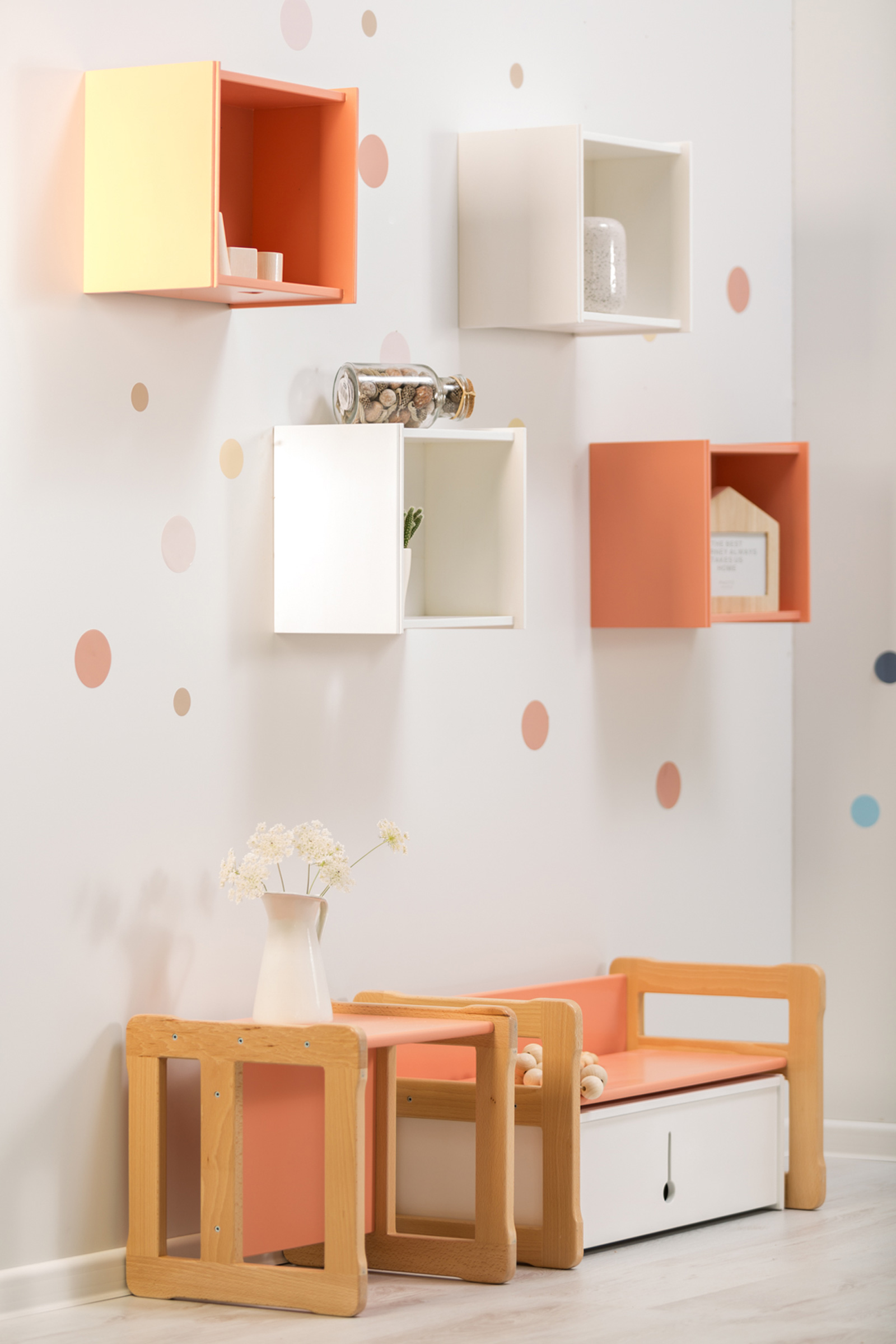 orange peach kids furniture