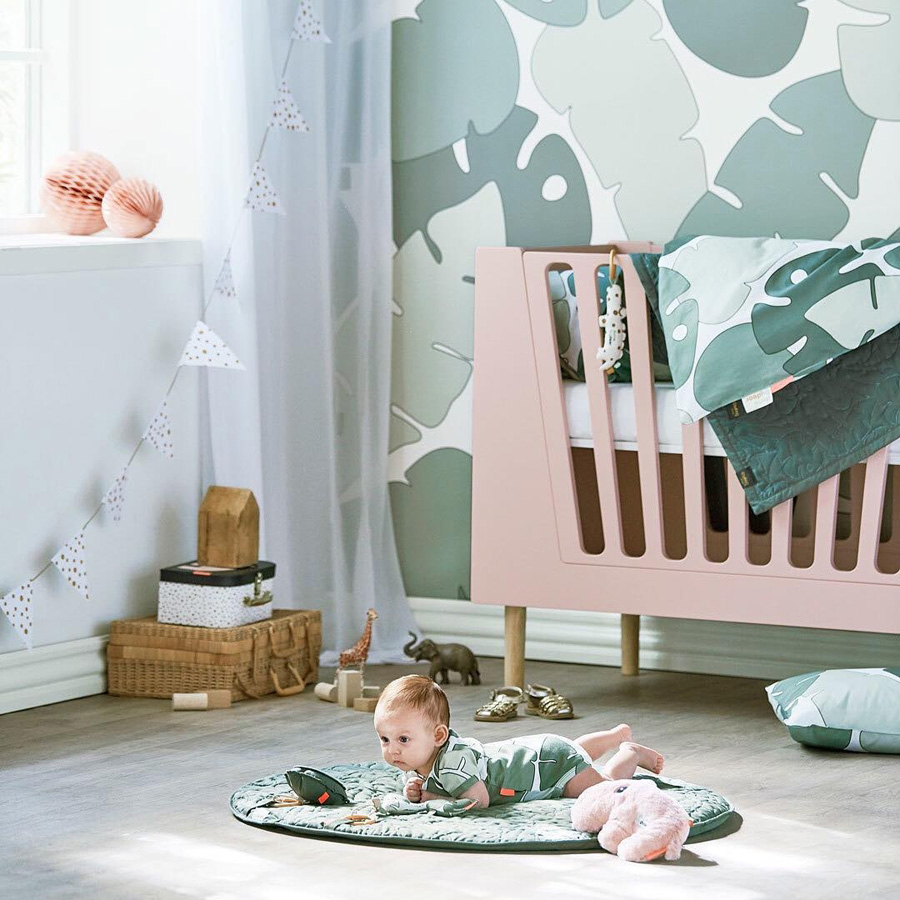 monstera leaves wallpaper nursery