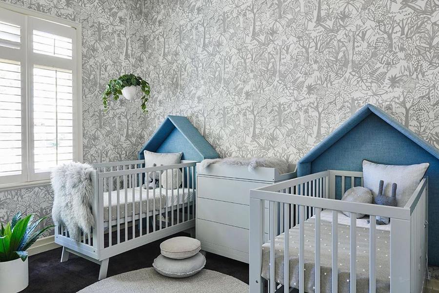 blue foliage wallpaper