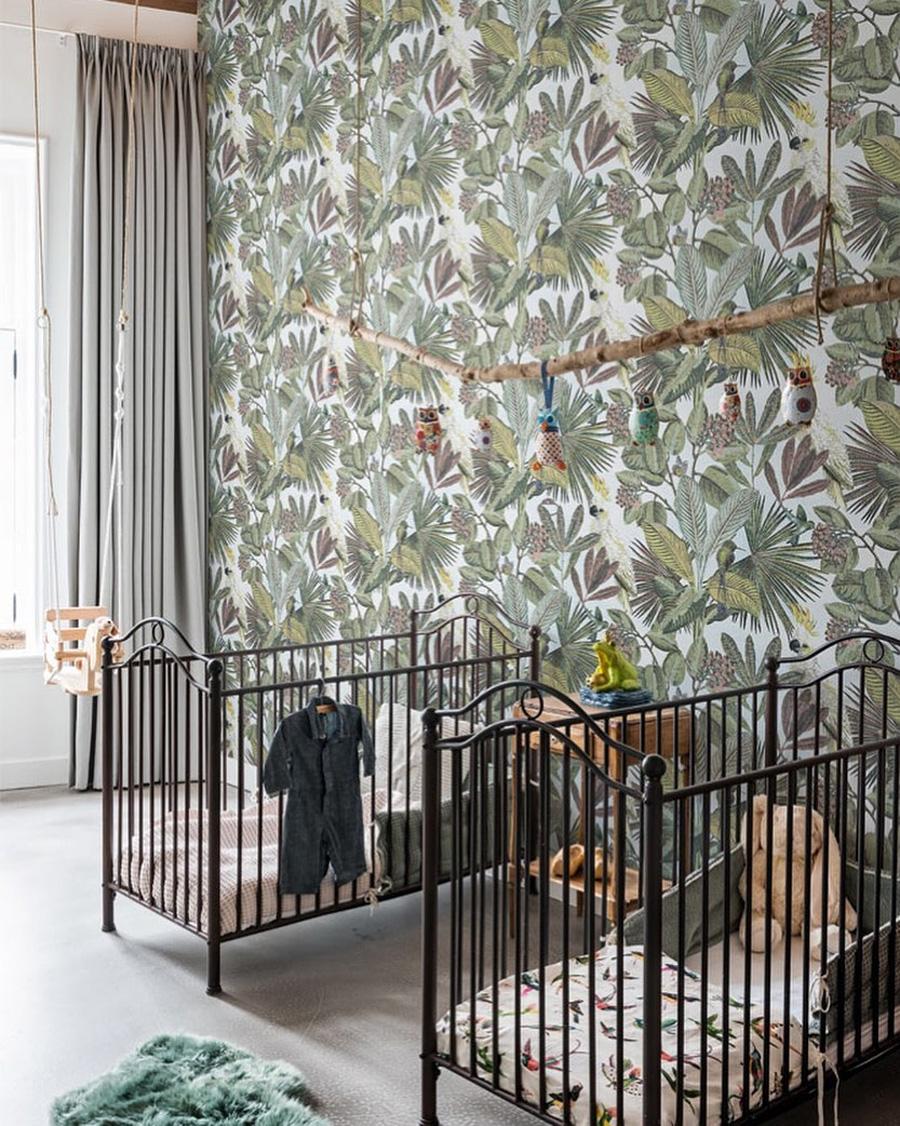 baby nursery with foliage decor