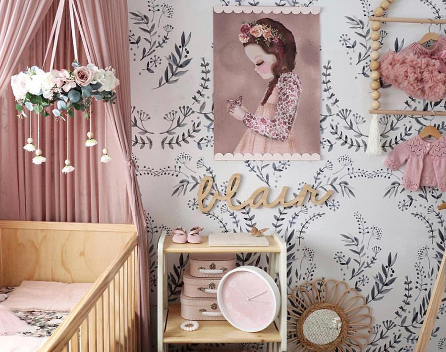 pink and black girl's room