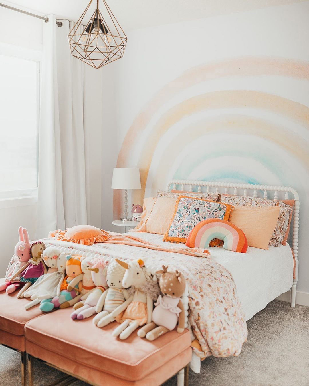 pastel rainbow wall decal in kid's room