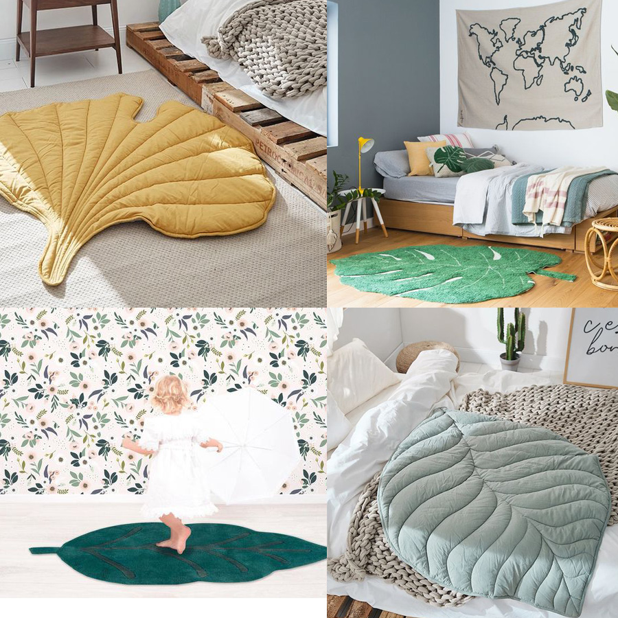 leaf rugs for nursery or kid's room