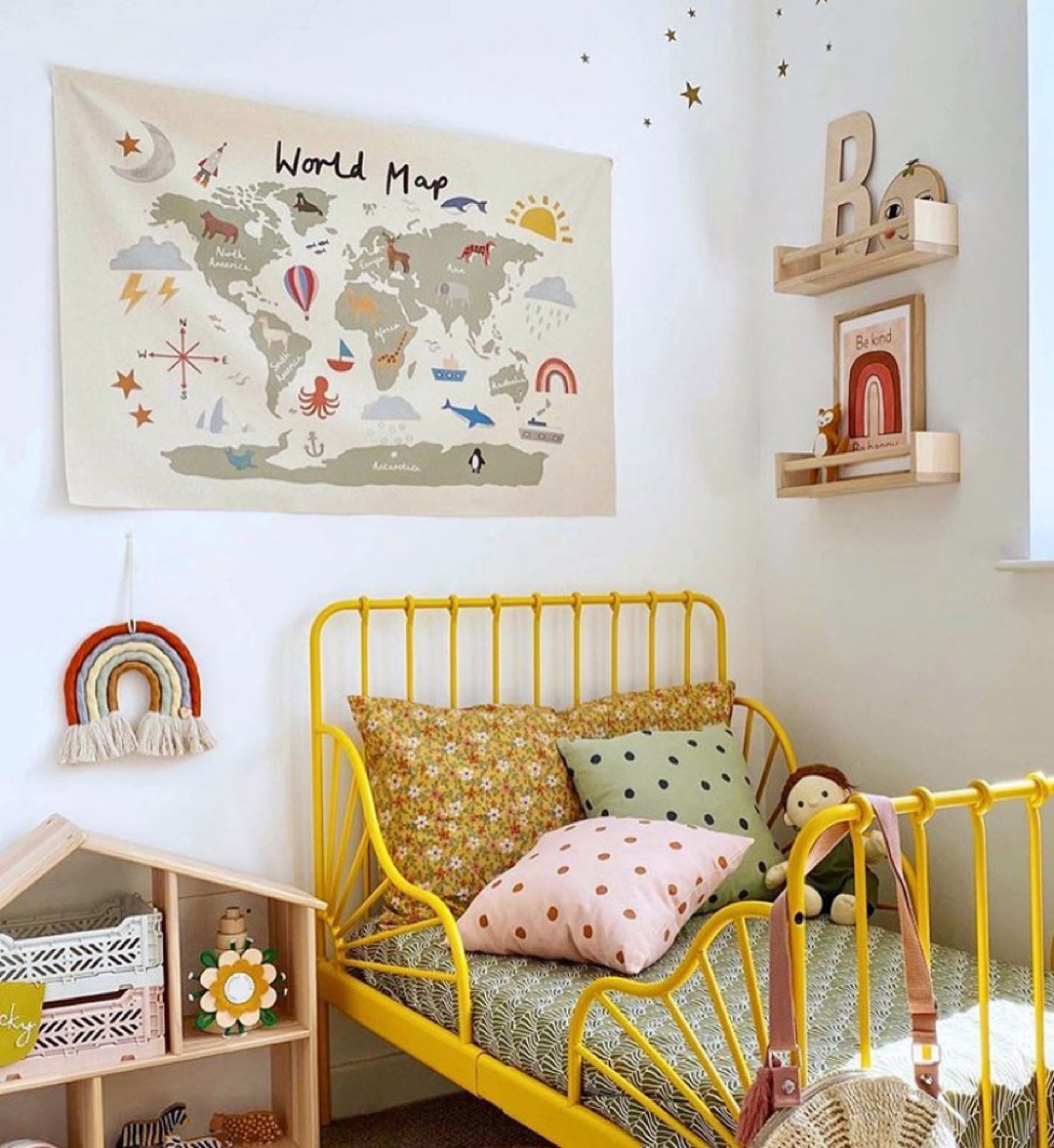 kid's room with yellow Minnen bed