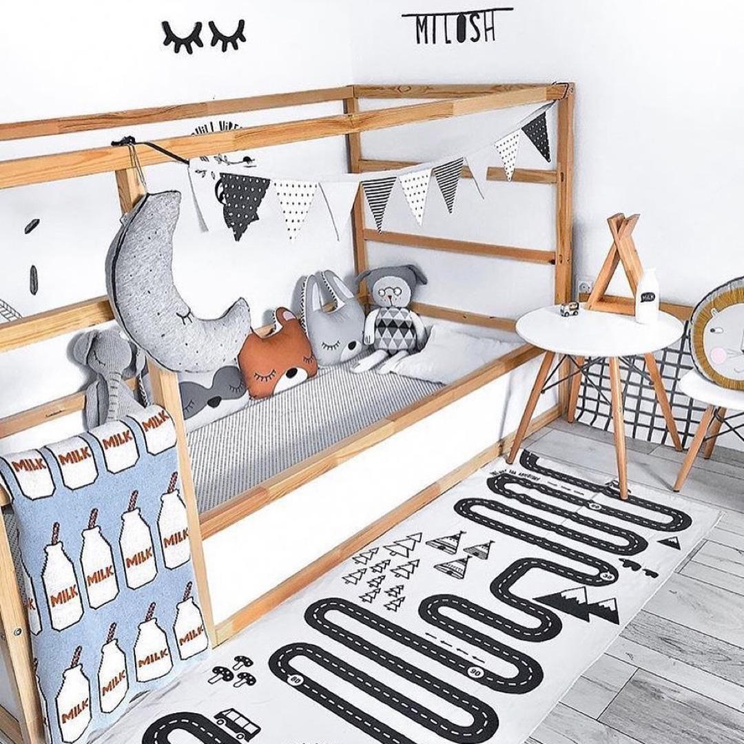 boy's room with ikea kura bed