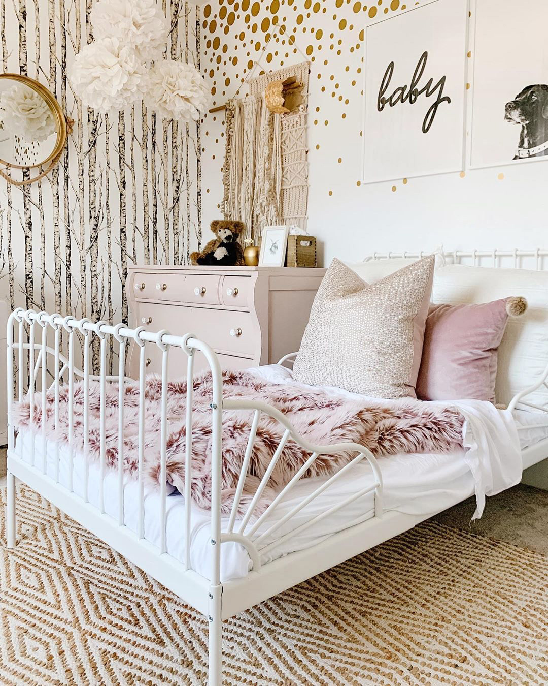 girl's room with birch wallpaper