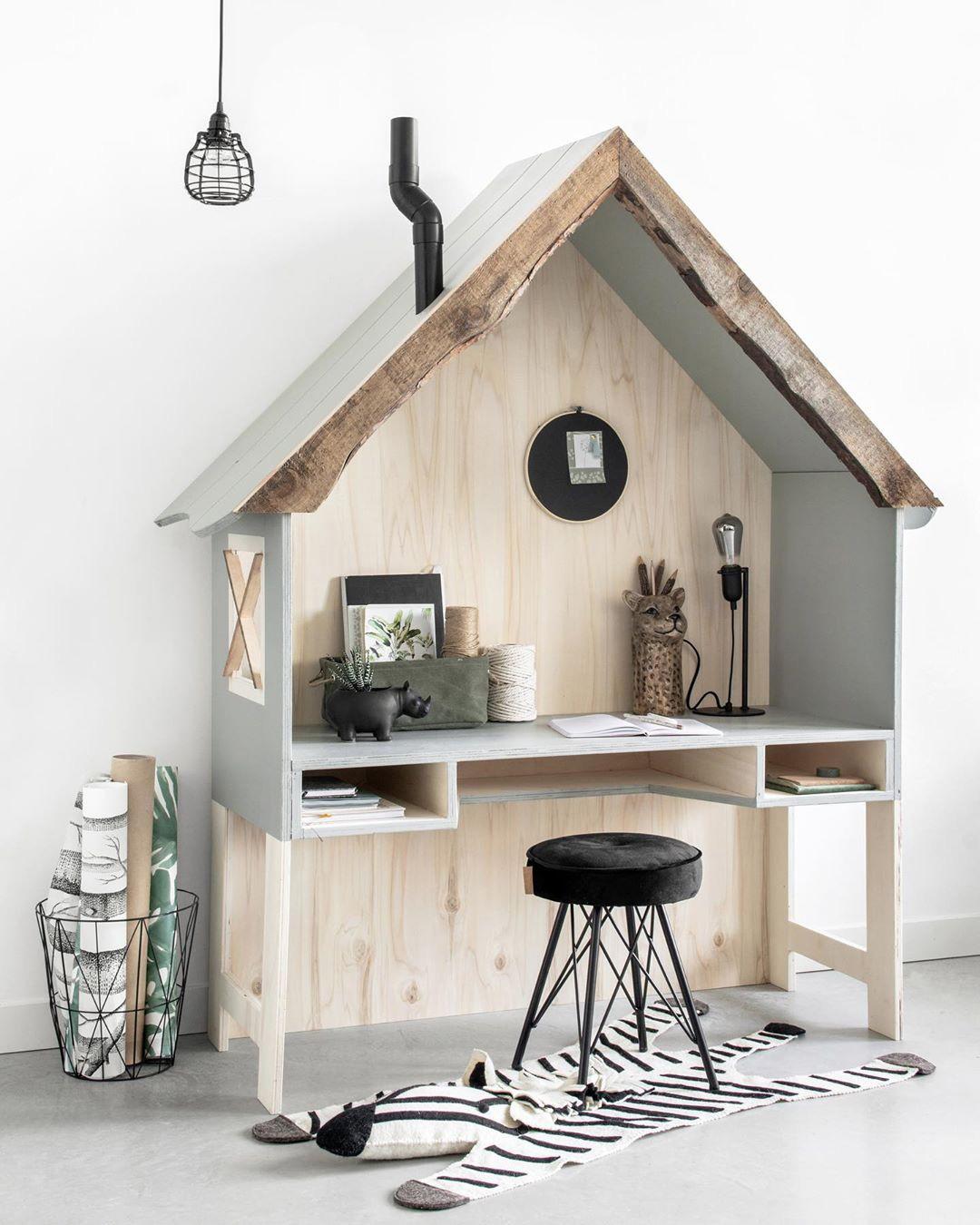 kid's desk in shape of house