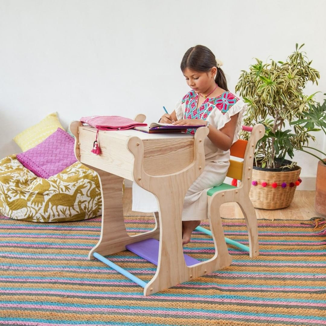 wooden kids desk and chair all-in-one