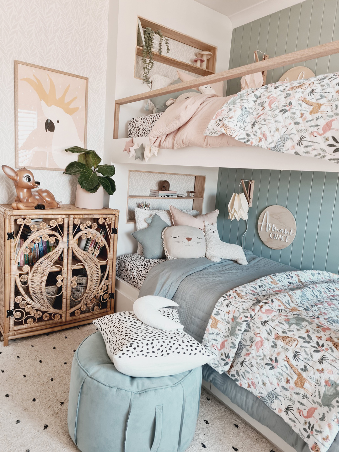 Asha And Armani S Shared Girls Room With A Bunkbed Kids Interiors