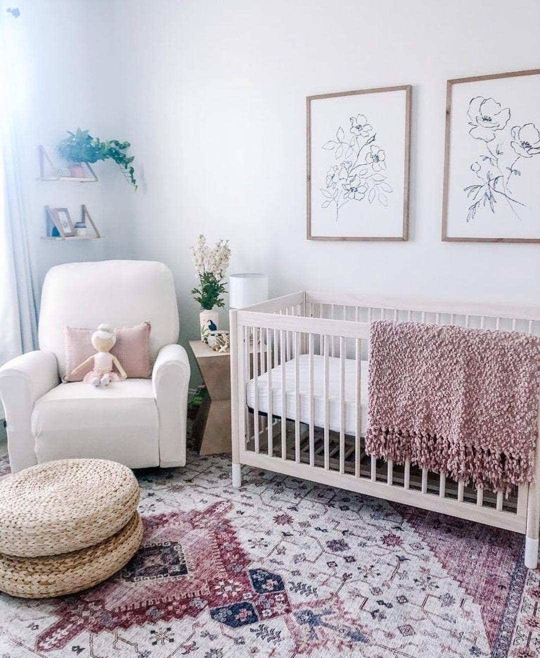 oriental rug in a baby nursery