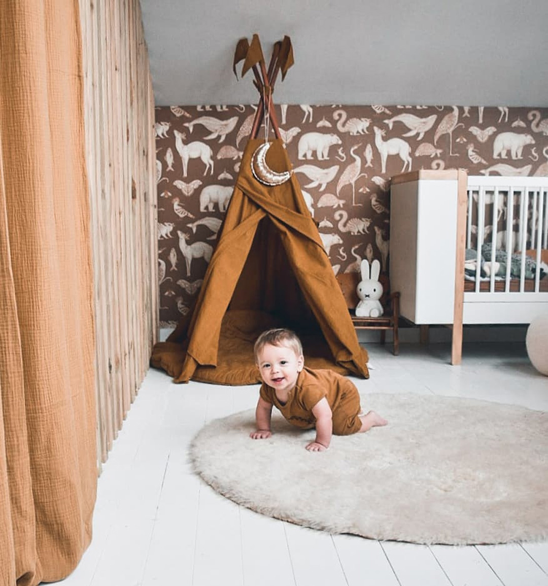 brown wallpaper for baby nursery