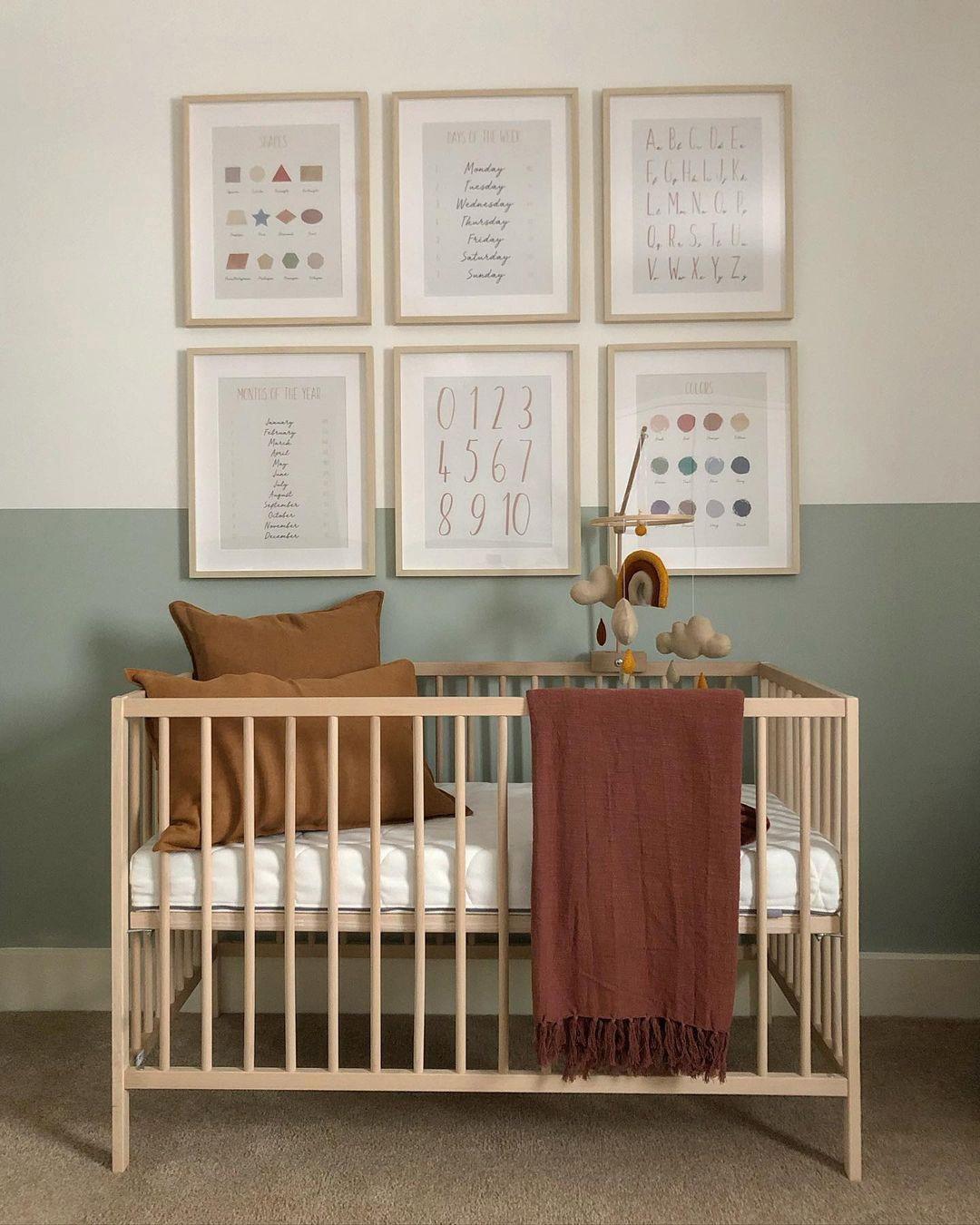 boy nursery with brown