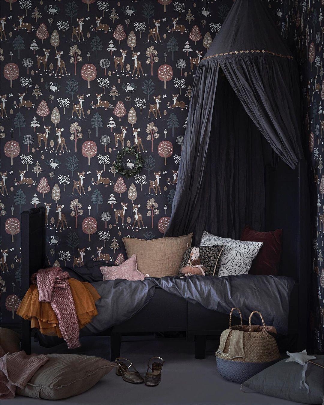 dark wallpapers for kids' rooms