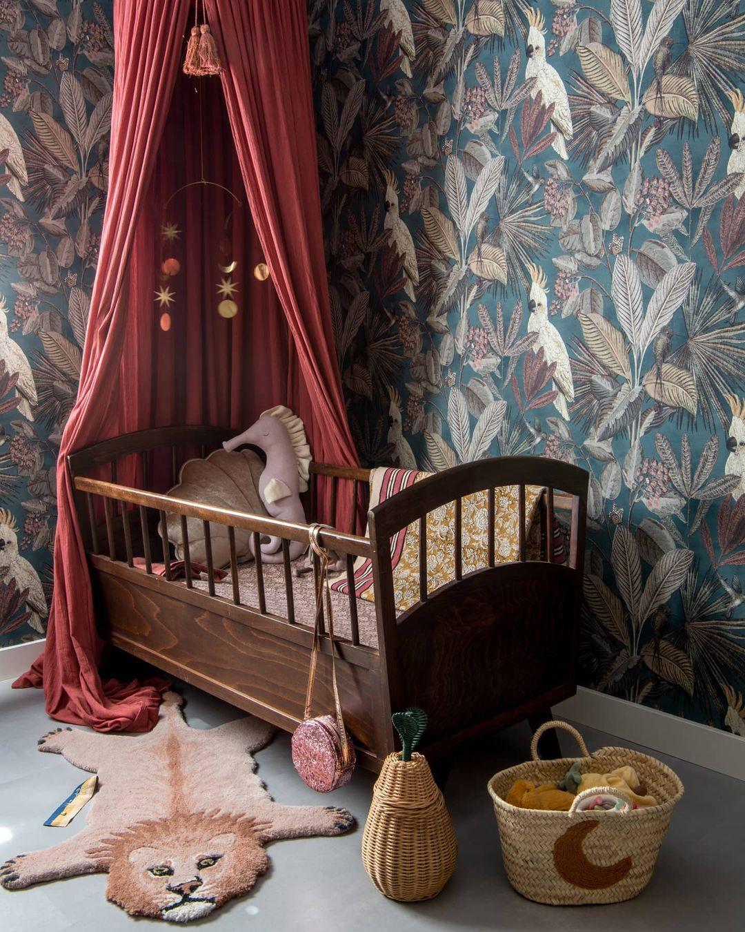 dark retro style wallpaper for nursery rooms