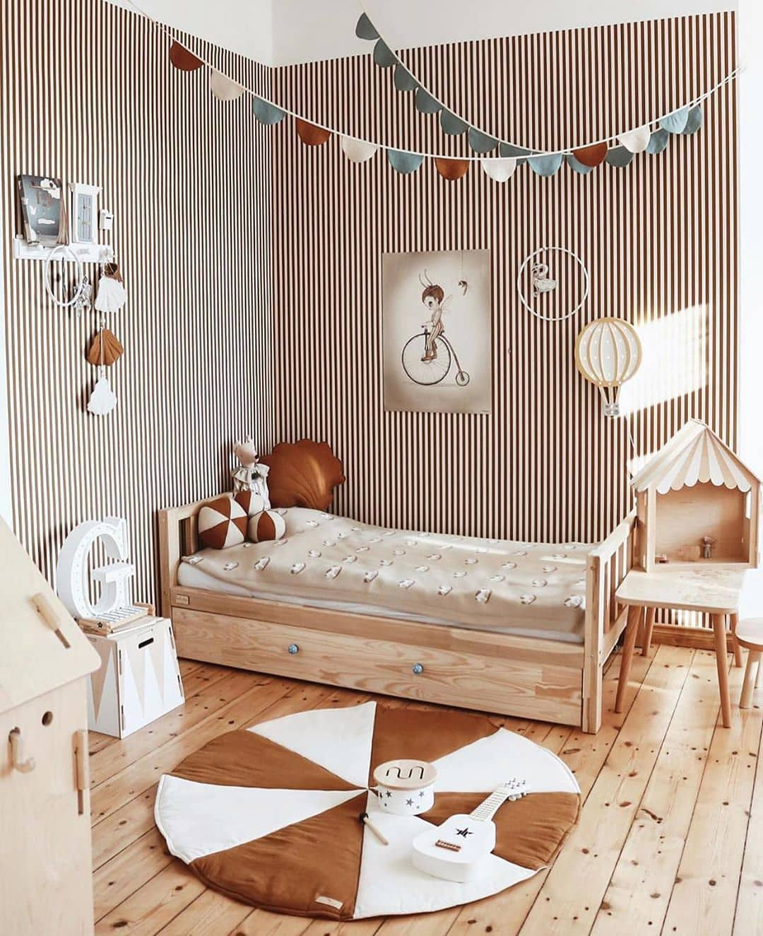 brown and white striped wallpaper kids room