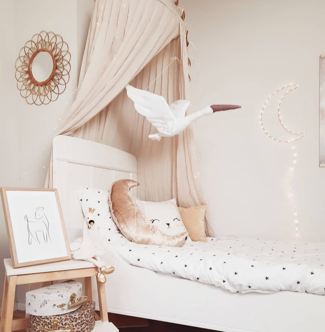 pale nude pink textiles girl's room