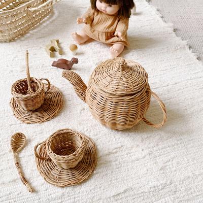 rattan doll tea set