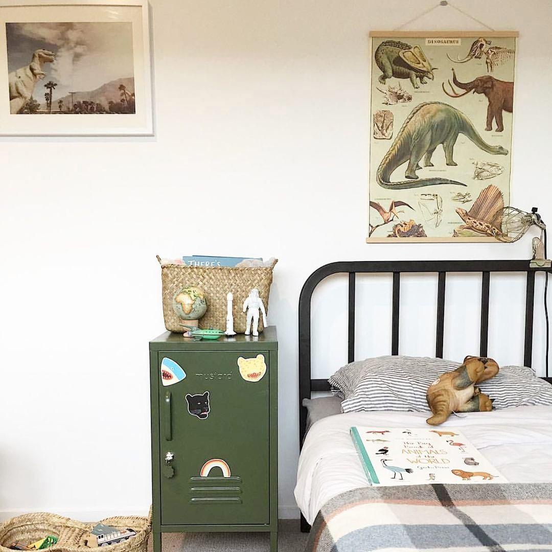 boys room with dinosaur décor