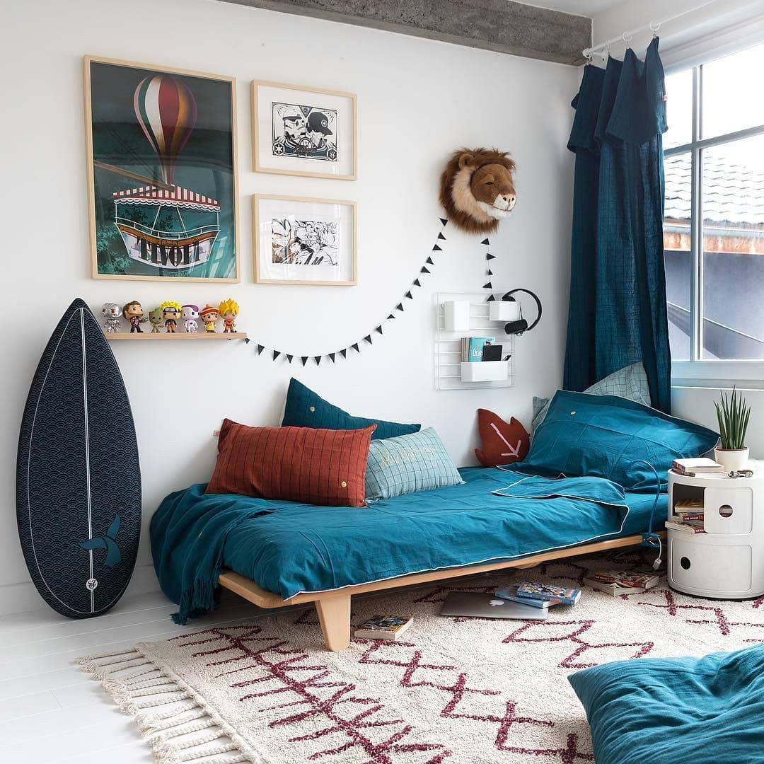 boys room with different blues