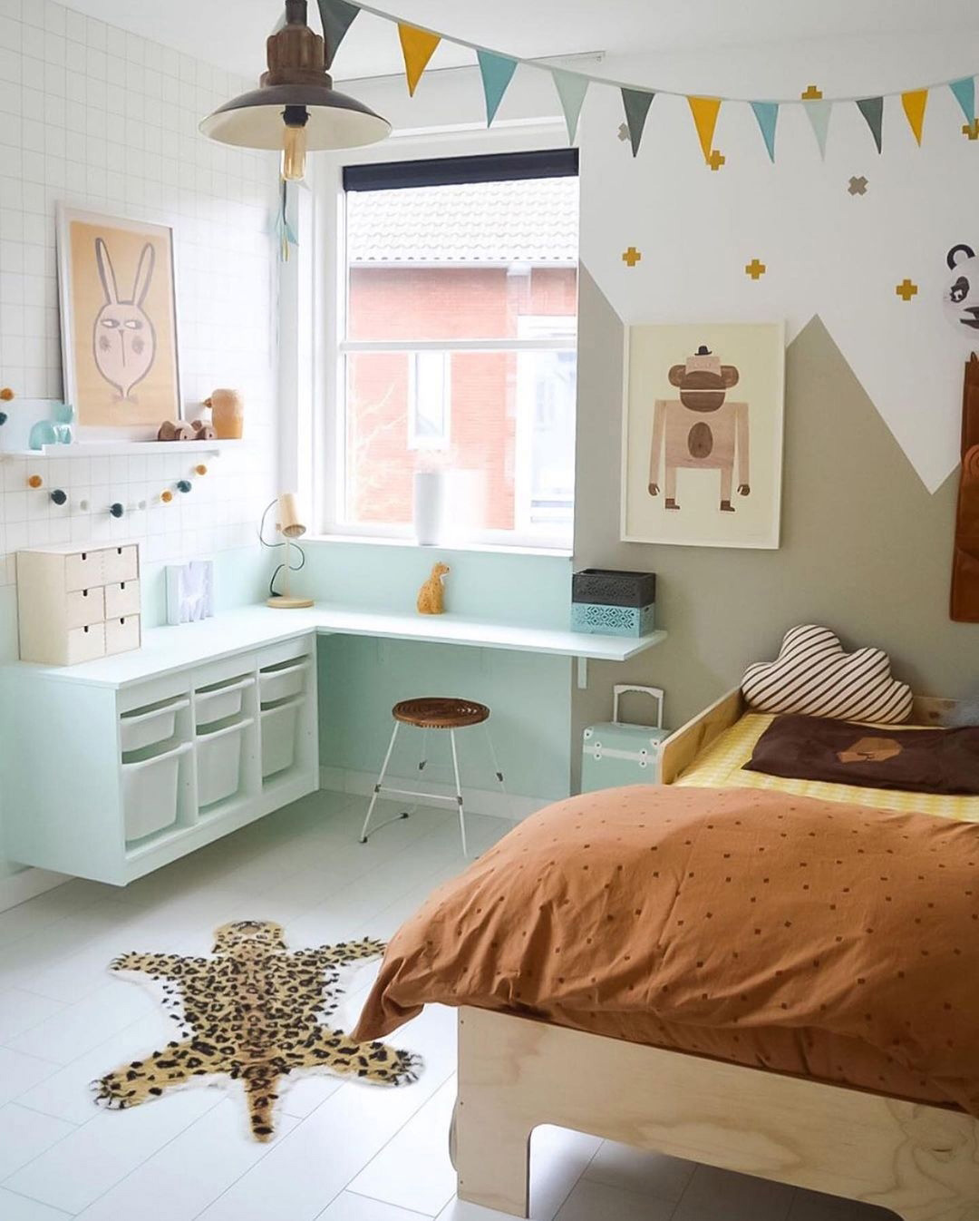 boy's room with monkey poster