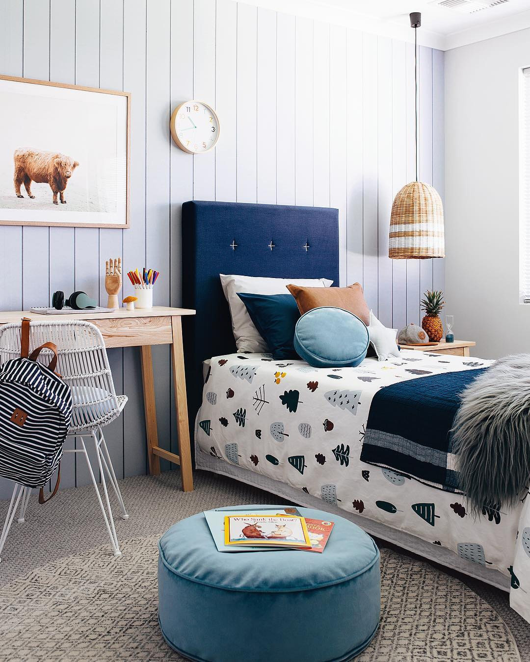 padded headboard for boy's bed
