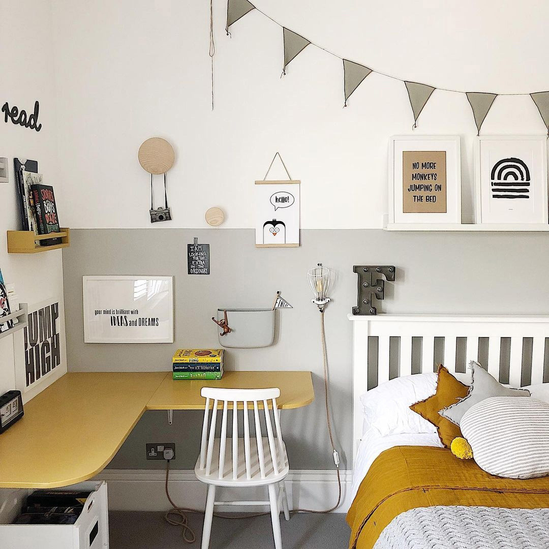 boy's room with yellow